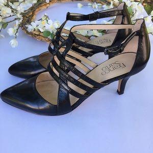 Franco Sarto Black ankle strap heels. Size 7.5.